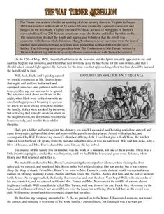an analysis of the silent rebellion by nat turner Nat turner's cunning planning of the bloodiest slave rebellion in american history shattered those theories his wise use of intellect and religion to manipulate white masters proved equality – regardless of skin color, and changed the misconception that slaves were too ignorant to know or want freedom.