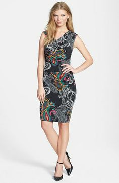 Ellen Tracy Print Cowl Neck Jersey Sheath Dress available at #Nordstrom