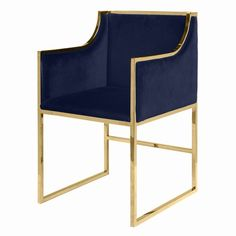 Worlds Away Anabelle Brass Occasional Chair with Navy Velvet Upholstery - ON BACKORDER - CALL FOR AVAILABILITY