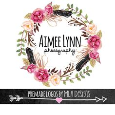 Floral Wreath with Feathers  Logo Design - Custom Premade Logos for Business Cards Stationary Print Boho Watercolor Floral Designs