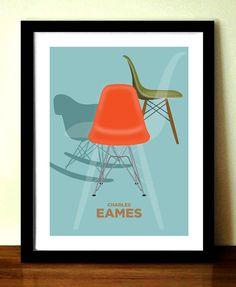 Charles Eames chaise, affiche rétro, milieu du siècle moderne, meubles impression, A3 giclée