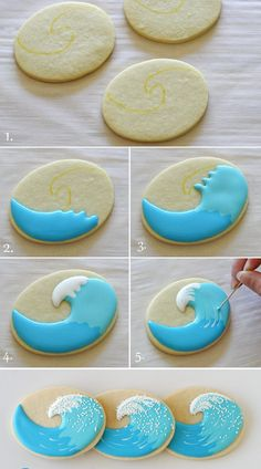 Surfboard and Wave Sugar Cookies With Royal Icing. Cookies Cupcake, Fancy Cookies, Cookie Icing, Iced Cookies, Cute Cookies, Royal Icing Cookies, Cookies Et Biscuits, Cookie Favors, Flower Cookies