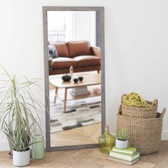 TRENDY greyed wood mirror H 130cm