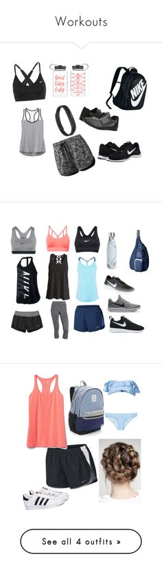 """""""Workouts"""" by beddiann ❤ liked on Polyvore featuring NIKE, Athleta, adidas, Fitbit, Spring Step, MANGO, Kavu, S'well, Lisa Marie Fernandez and Victoria's Secret"""
