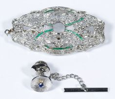 Lot 315: 14k White Gold Jewelry Assortment; Including a pin having filigree design and tie tack having a round cut sapphire