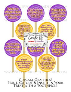 DIY Wonka Inspired Instant Download Lollipop Cupcake Toppers by CoastieLife, $7.50  Great for Birthday Parties with a Willy Wonka & the Chocolate Factory Theme!