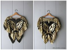 Butterfly Sequins Top Gold Black Silk Sequined Disco Glam Crop Top Embroidered Blouse Womens M/L Gold Sequin Top, Gold Sequins, Embroidered Blouse, Black Silk, Vintage Tops, Fit Women, Butterfly, Crop Tops, Fashion