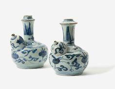 Two blue and white kendi, Wanli period (1573-1619)