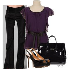 """Purple and Black"" by styleofe on Polyvore"