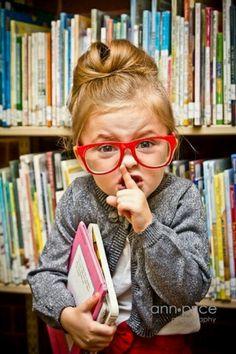 Mini librarian. So cute!