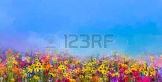 campos de flores: La pintura abstracta al óleo del arte de las flores de verano-primavera. Aciano, flor de la margarita en los campos. paisaje prado con flores silvestres, púrpura-azul de fondo del color del cielo. estilo impresionista floral de la mano de pintura