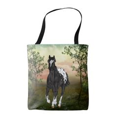 Running Black Appaloosa Horse Tote Bag