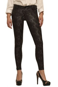 Skinny python print coated denim with metallic highlights. These fabulous bottoms are great for an urban chic look!