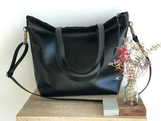 Ready to ship Large Black Leather bag with zip and removable