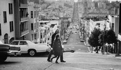 """Richard Brautigan and ten-year old daughter Ianthe strolling the streets of North Beach, San Francisco (1970) Photo by Vernon Merritt III, from a LIFE magazine feature, """"Gentle Poet of the Young: A Cult Grows around Richard Brautigan,"""" by John Stickney."""