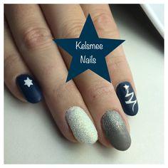 Christmas nails, Blue matte gelpolish Grey glitter and white sugar