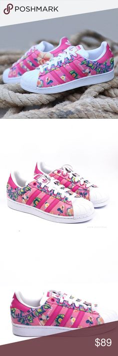 NWT • A d i d a s • S u p e r s t a r s • Sz 6 NWT Woman's Adidas Superstar Pink Floral Trainers Sz 6   🍍 NWT w/ few possible flaws or blemishes from sitting outside of box 📸 Watermark photos are of the actual item you will receive  🌸Price is FIRM    100% authentic brand ADIDAS adidas Shoes Sneakers
