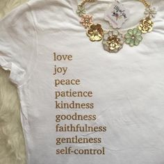 Fruits of the Spirit Christian Shirts for Women – ellyandgrace- Tap the link now to see our super collection of accessories made just for yo Love Joy Peace, Christian Shirts, Christian Clothing, Christian Women, Christian Faith, Spirit Shirts, Fruit Of The Spirit, Jesus Shirts, How To Roll Sleeves