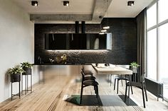 The interior in the loft style for a young couple. The drum installation, designer furniture and stained-glass decor Loft Interiors, Office Interiors, Modern Interior, Interior Architecture, Interior Design, Apartment Interior, Apartment Design, Copper Living Room, Minimalist Flat