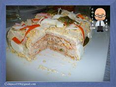 Pastel de pan de molde Appetizer Sandwiches, Appetizer Recipes, My Recipes, Cooking Recipes, Favorite Recipes, Good Food, Yummy Food, Spanish Dishes, Sandwich Cake