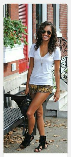 10bd32312370 Pictures of short outfits with fringe sandals - Google Search Gladiator  Sandals Outfit