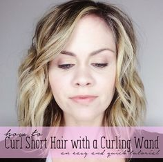How to curl short hair with a Curling Wand. Get those beachy waves in no time! T… How to curl short hair with a Curling Wand. Get those beachy waves in no time! Beach Waves For Short Hair, Beach Curls, Beach Wave Hair, Short Wavy Hair, Short Hair Styles, Bob Styles, Curly Hair, Curling Wand Tutorial, Curling Wand Tips