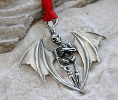 ✯ Pewter Skeleton with Bat Wings Gothic Halloween Christmas Ornament and Holiday Decoration :: Etsy Shop BeachsideJewelryShop ✯