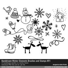 Handdrawn Winter Elements Brushes and Stamps No. 01 whimsical handdrawn doodles of snowflakes mittens snowmen ice skate and reindeer in PNG and abr file format #designerdigitals