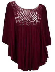 eVogues Apparel Plus Size Crochet Bodice Poncho Top Burgundy on shopstyle.com