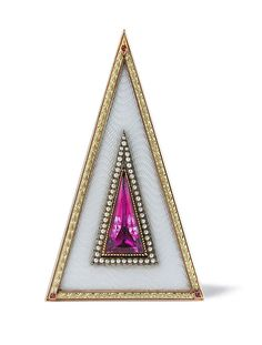 An Imperial Gem bellpush by Faberge  enamelled opalescent oyster the top edged with chased green gold laurels against a red gold ground mounted with cabochon rubies at the three corners, the push piece a pink topaz in gold setting