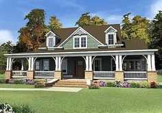 This 3 bed house plan has a grand porch in front that is 10' deep, making it perfect for an outdoor living room with lots of room for furniture. A smaller porch in back is also 10' deep.  The great room and foyer are both open to above creating a great open feeling inside.  The kitchen enjoys views to the great room and gallery and is open to ...