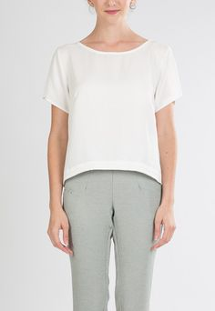 Bianca Top in Ivory Twill