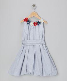 Blue Stripe Country Craft Flower Bubble Dress - Girls//