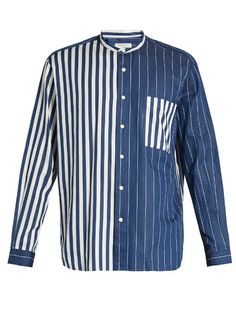 Tomorrowland Contrast-stripe cotton-twill shirt