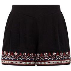 Black Embroiderd Hem Shorts