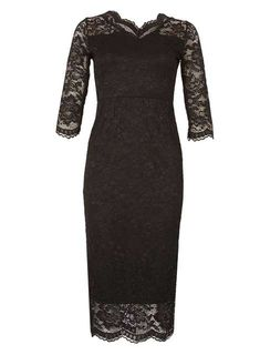 *Feverfish Black Lace Scallop Bodycon Dress