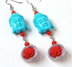Buddha earrings  rose earrings  turquoise by sparklecityjewelry