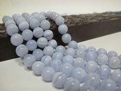 Blue lace agate round beads 10mm. Natural gemstone smooth round beads. High Quality by Susiesgem on Etsy
