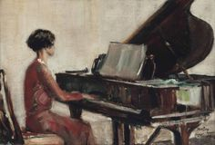 At the piano (1929). James McBey (Scottish, 1853-1959). Oil on canvas. McBey was among the most successful British artists of his generation - an official war artist during the first world war, he later undertook important private commissions. This peaceful composition of a girl playing a grand piano fits in neither category and one assumes that it had a personal connection for McBey.
