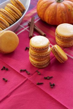 Pumpkin Macarons   A little taste of pumpkin pie in a French macaron. Perfect for your Thanksgiving table.