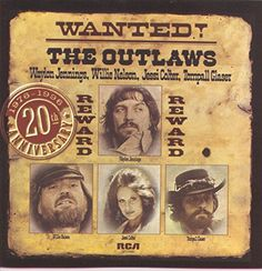 """Wanted! The Outlaws (1976-1996 20th Anniversary)  Reissue of the mid-'70s outlaw country classic featuring Willie Nelson, Waylon Jennings, Jessi Colter and Tompall Glaser, with original artwork, liner notes (from Chet Flippo) and nine """"lost"""" tracks!  http://www.musicdownloadsstore.com/wanted-the-outlaws-1976-1996-20th-anniversary/"""