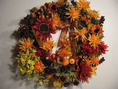 "A Real Beauty!    Large 24"" AUTUMN WREATH Mums Sunflowers Fruit Pear by FindsandFurnishings, $75.00"