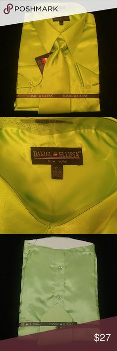 MEN'S DRESS SHIRT APPLE GREEN COMBO PACK BY DANIEL Combination shirt, tie, pocket square. Regular fit. Brand:DANIEL ELLISSA Material:100% polyester satin rayon Style:DS3012 NP2 Apple green      This shirt can be SPECIAL ORDERED in your size through Poshmark. Email me @shirtman48 for details. DANIEL ELLISSA Shirts Dress Shirts