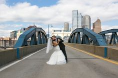 Bride and Groom in the City of Bridges | FineLine Weddings Photo | TheKnot.com