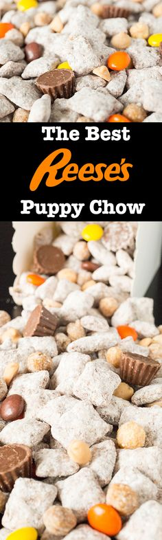 The Best Reese's Puppy Chow - Reese's Pieces, Reese's Peanut Butter Cups, Reese's Puffs Cereal, and Reese's Peanut Butter Chips This dessert recipe puts a twist on the classic puppy chow snack by adding all these Reese's candies! Easy, no-bake recipe. Best Puppy Chow Recipe, Puppy Chow Recipes, Chex Mix Recipes, Baking Recipes, Snack Recipes, Dessert Recipes, Easy Recipes, Fun Desserts, Delicious Desserts