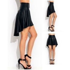 Women PU Leather High Waist  Short Skirt S