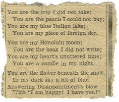 You are the trip I did not take...