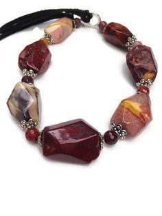 Mookaite Jasper Necklace Chunky Gemstone and Leather by lyrisgems