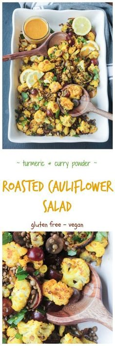 Roasted Cauliflower Salad w/ Lentils & Grapes - cauliflower tossed with turmeric and curry powder, roasted until tender and golden, and then tossed with protein packed lentils, and sweet juicy grapes. It's flavor and texture dynamite! #vegan #salad #cauliflower #vegetables #meatlessmonday #vegetarian #turmeric #picnic #potluck