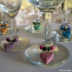 DIY Heart Wine Charms #crafts #polymerclay #valentines